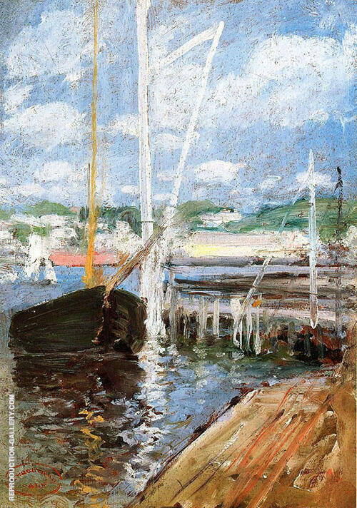 Boat Landing c1900 by John Henry Twachtman | Oil Painting Reproduction Replica On Canvas - Reproduction Gallery