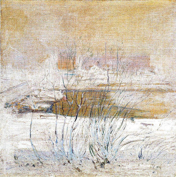 Bridge in Winter 1901 by John Henry Twachtman | Oil Painting Reproduction Replica On Canvas - Reproduction Gallery