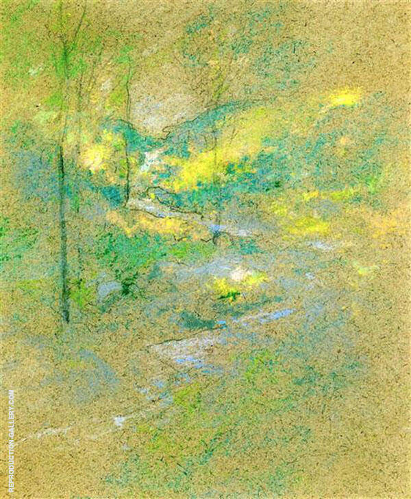 Brook Among the Trees 1891 by John Henry Twachtman | Oil Painting Reproduction Replica On Canvas - Reproduction Gallery