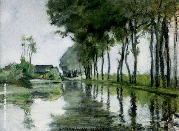Canal Scene Holland 1881 by John Henry Twachtman | Oil Painting Reproduction Replica On Canvas - Reproduction Gallery