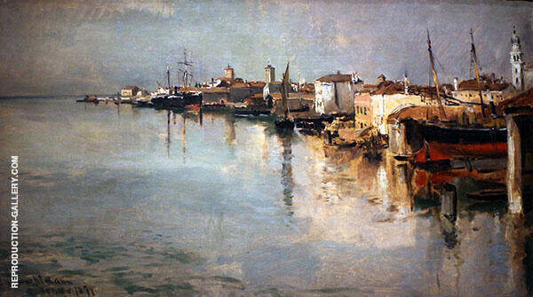 Canal Venice 1877 by John Henry Twachtman | Oil Painting Reproduction Replica On Canvas - Reproduction Gallery