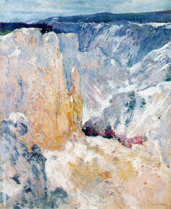 Canyon in the Yellowstone 1895 by John Henry Twachtman   Oil Painting Reproduction Replica On Canvas - Reproduction Gallery