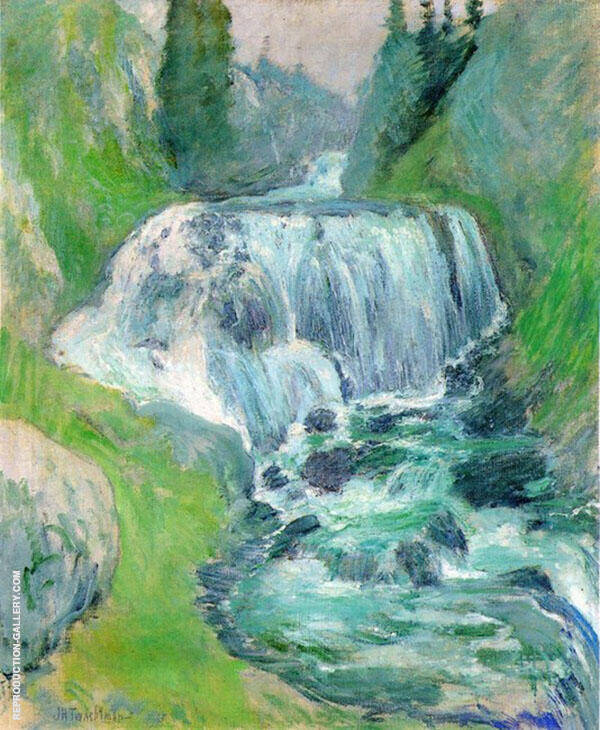 Cascades Waterfall by John Henry Twachtman | Oil Painting Reproduction Replica On Canvas - Reproduction Gallery