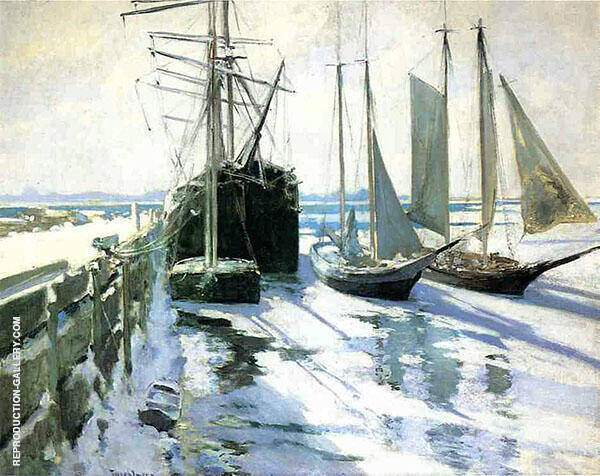 Connecticut Shore Winter 1889 by John Henry Twachtman | Oil Painting Reproduction Replica On Canvas - Reproduction Gallery