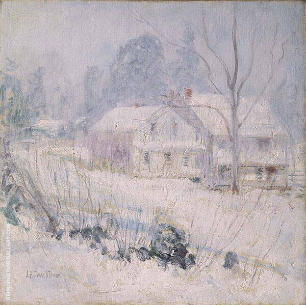 Country House in Winter Cos Cob 1891 by John Henry Twachtman | Oil Painting Reproduction Replica On Canvas - Reproduction Gallery