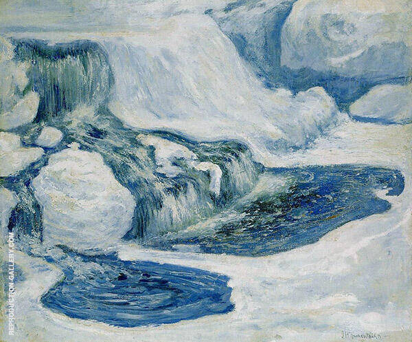 Falls In January 1895 by John Henry Twachtman   Oil Painting Reproduction Replica On Canvas - Reproduction Gallery
