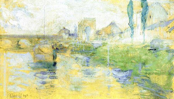 French River Scene 1884 By John Henry Twachtman