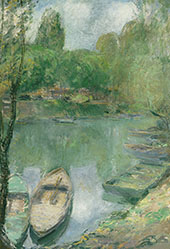 Boats Moored on a Pond By John Henry Twachtman