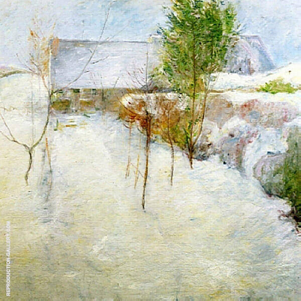 House in the Snow c1890 by John Henry Twachtman | Oil Painting Reproduction Replica On Canvas - Reproduction Gallery