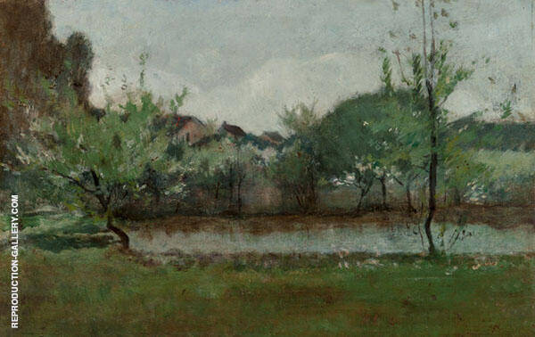 Landscape with Cottages 1883 by John Henry Twachtman | Oil Painting Reproduction Replica On Canvas - Reproduction Gallery