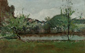 Landscape with Cottages 1883 By John Henry Twachtman