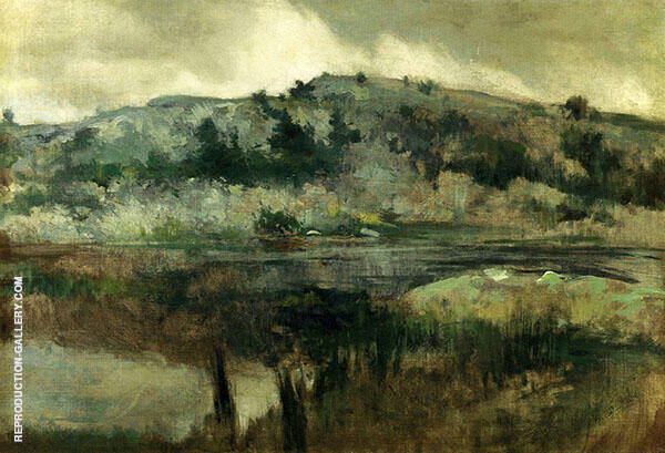Paradise Rocks Newport 1889 by John Henry Twachtman | Oil Painting Reproduction Replica On Canvas - Reproduction Gallery