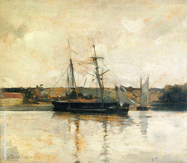 Sailing Boats Dieppe Harbor 1885 By John Henry Twachtman