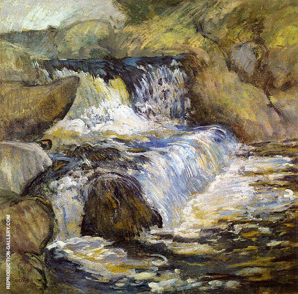 The Cascade Painting By John Henry Twachtman - Reproduction Gallery