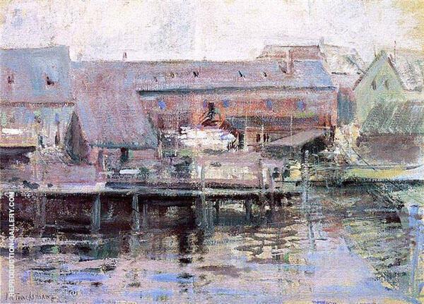 Waterfront Scene Gloucester 1901 Painting By John Henry Twachtman
