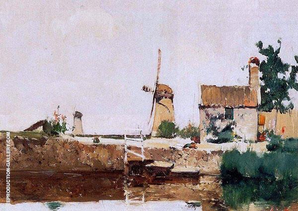 Windmills Dordrecht 1881 Painting By John Henry Twachtman