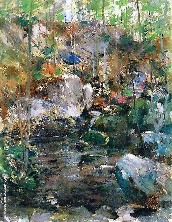 Woodland Stream Painting By John Henry Twachtman - Reproduction Gallery