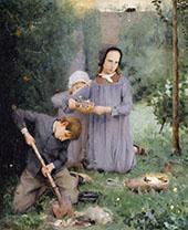 Children Burying a Bird 1878 By J. Alden Weir