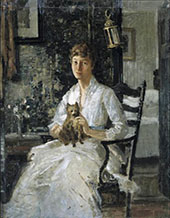 Portrait of a Lady with a Dog c1890 By J. Alden Weir