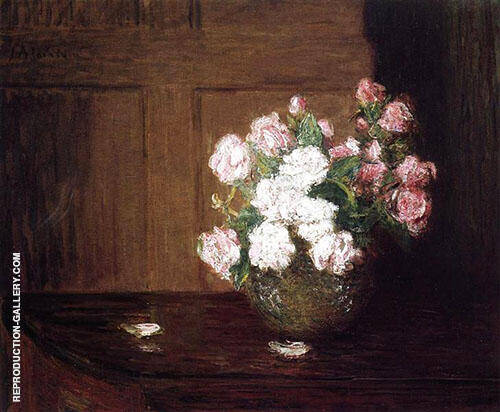 Roses in a Silver Bowl on a Mahogany Table By J. Alden Weir