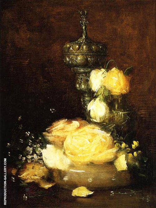 Silver Chalice with Roses 1882 By J. Alden Weir