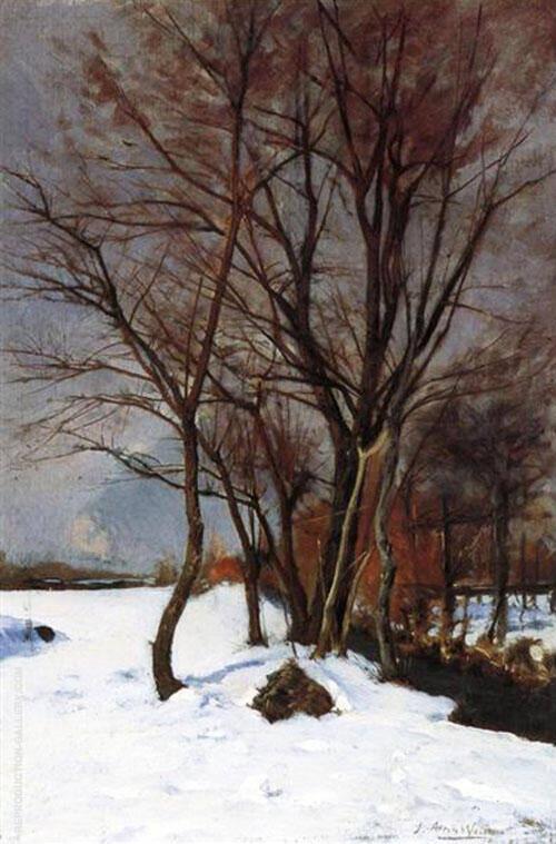 Winter Landscape with Stream By J. Alden Weir