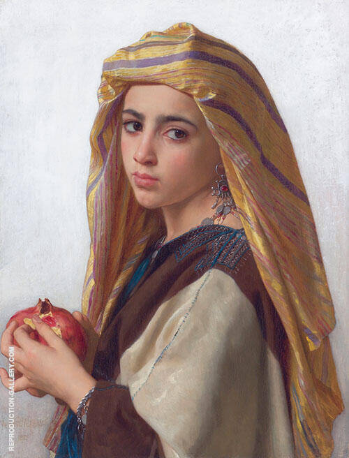 Girl with a Pomegranate By William-Adolphe Bouguereau