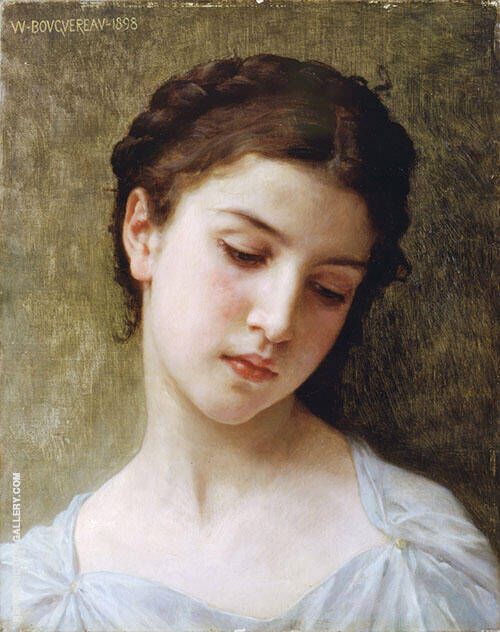 Head of A Young Girl 1898 By William-Adolphe Bouguereau