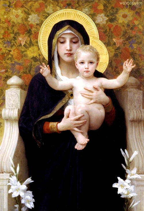 Virgin of The Lilies By William-Adolphe Bouguereau
