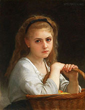 Young Girl with Basket of Fruit 1883 By William-Adolphe Bouguereau