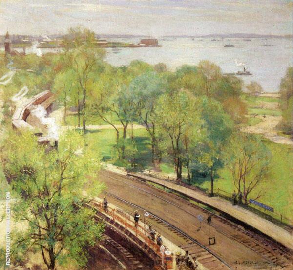 Battery Park, Spring 1924 By Willard Leroy Metcalfe