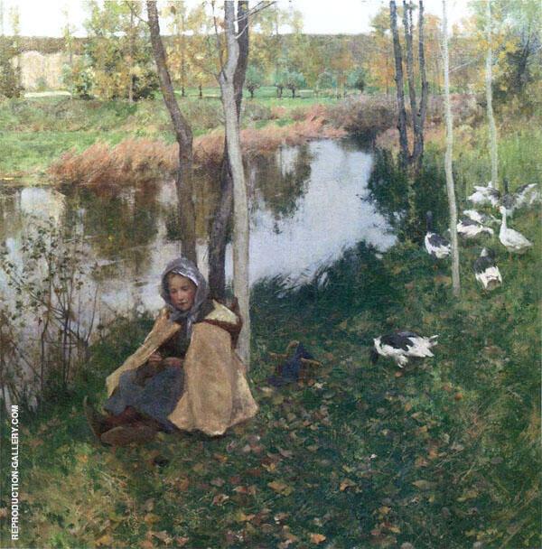 Goose Girl 1886 By Willard Leroy Metcalfe