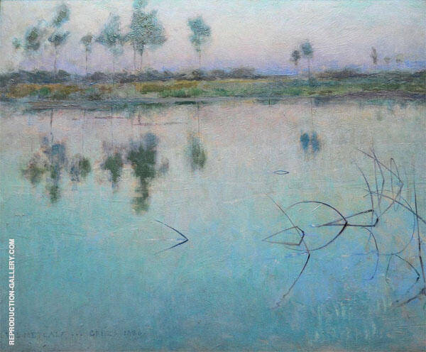 Reflections at Grez sur Loing 1885 By Willard Leroy Metcalfe