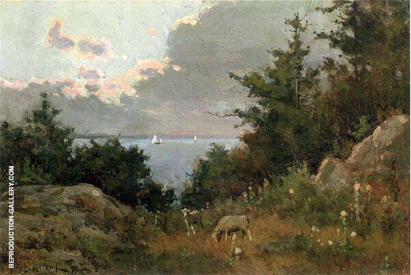 Grazing Sheep Coast of Maine 1877 By Willard Leroy Metcalfe