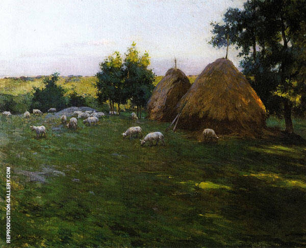 Haystacks at Sunset 188 By Willard Leroy Metcalfe