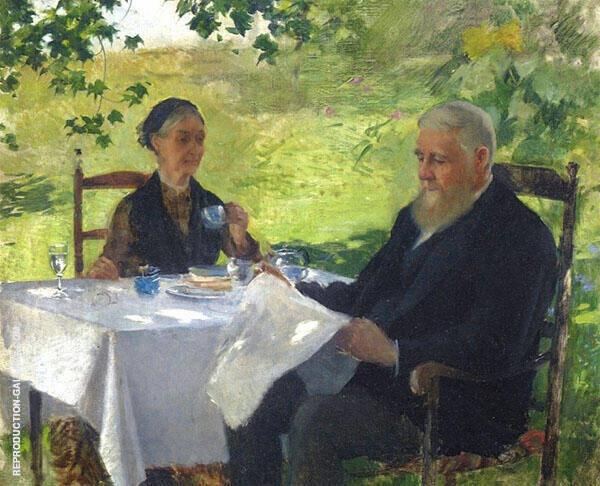 Tea on the Porch 1890 By Willard Leroy Metcalfe