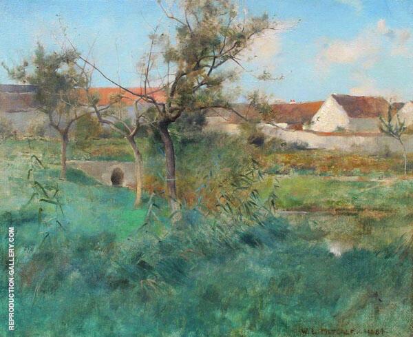Landscape in Grez 1884 By Willard Leroy Metcalfe