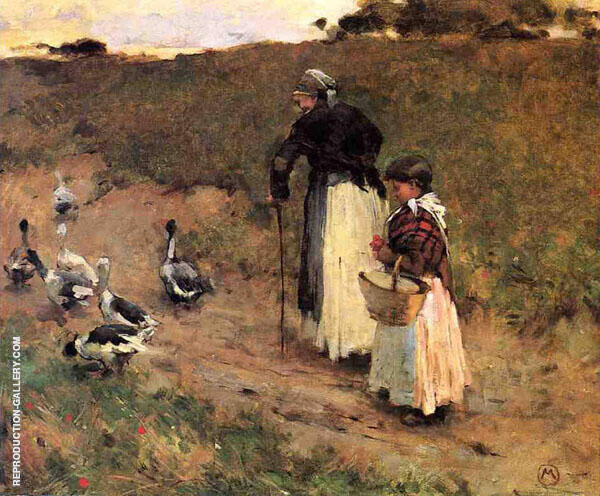 Old Woman with Child and Goose c1884 By Willard Leroy Metcalfe