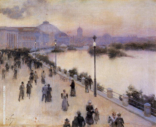 Sunset Hour on the West Lagoon, World Columbian Exposition 1893 By Willard Leroy Metcalfe