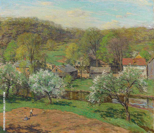 The Village in Late Spring 1920 By Willard Leroy Metcalfe