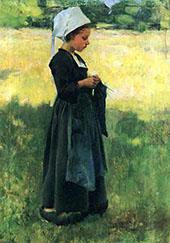 Breton Girl 1884 By Willard Leroy Metcalfe