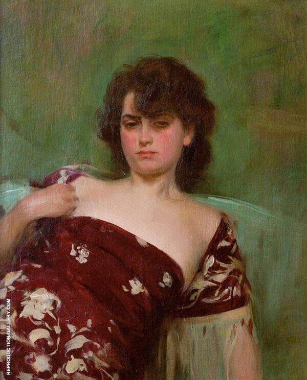 Julia en Granate 1906 Painting By Ramon Casas - Reproduction Gallery