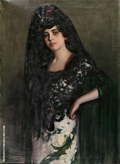 Woman with Mantilla By Ramon Casas