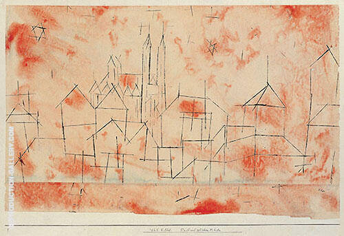 City with Gothic Cathedral 1925 Painting By Paul Klee