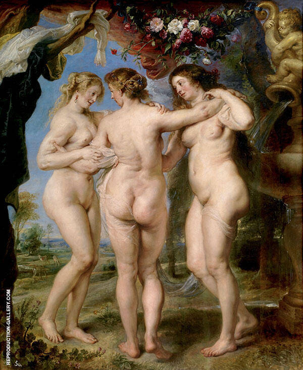 The Three Graces 1630-1635 Painting By Peter Paul Rubens