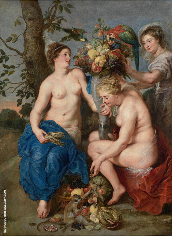Ceres and Two Nymphs c1615 Painting By Peter Paul Rubens