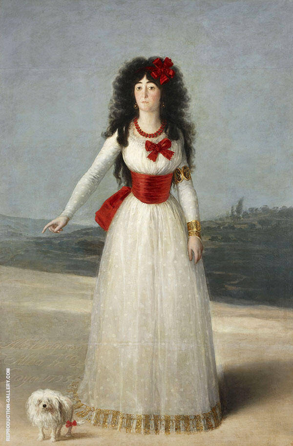 Portrait of the Duchess of Alba, The White Duchess 1795 By Francisco Goya