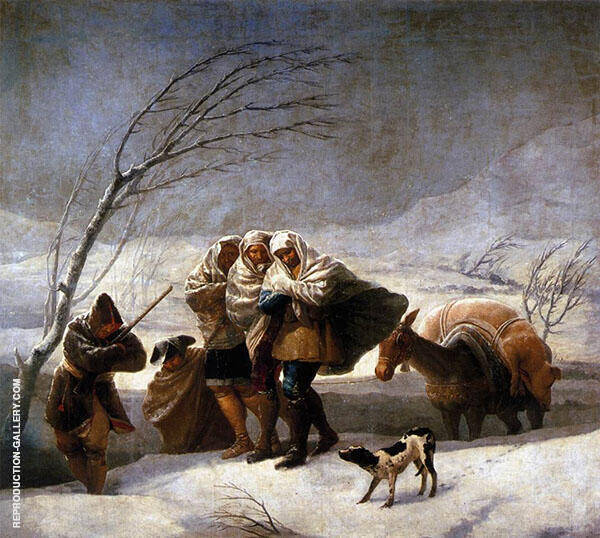 The Snowstorm (Winter) c1786 Painting By Francisco Goya