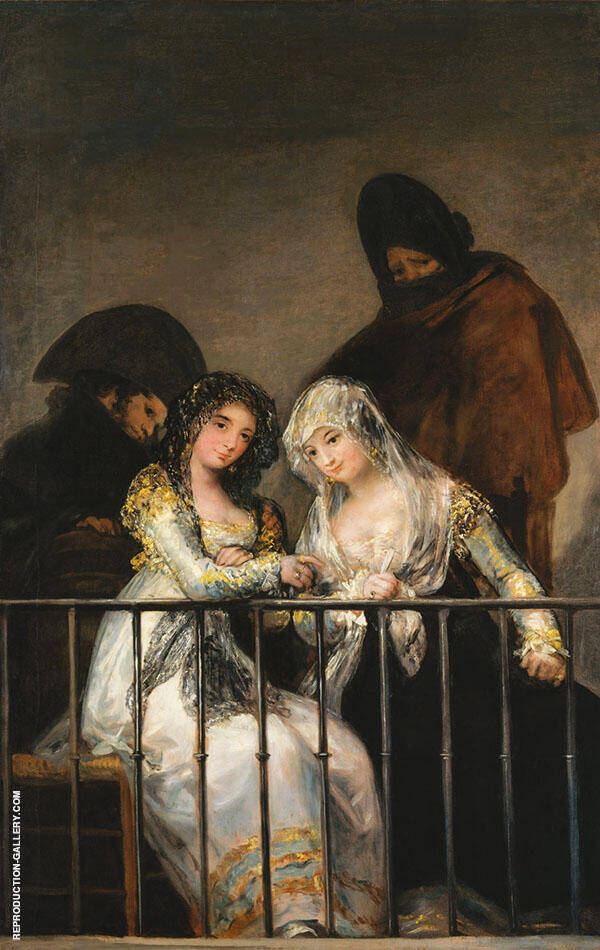 Majas on a Balcony c1800 By Francisco Goya