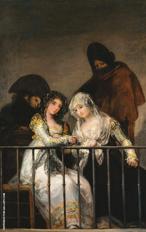 Majas on a Balcony c1800 By Francisco Goya